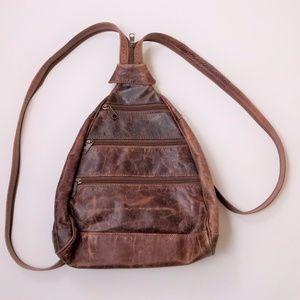 Vtg 90s Brown Leather Mini Backpack Sling Purse